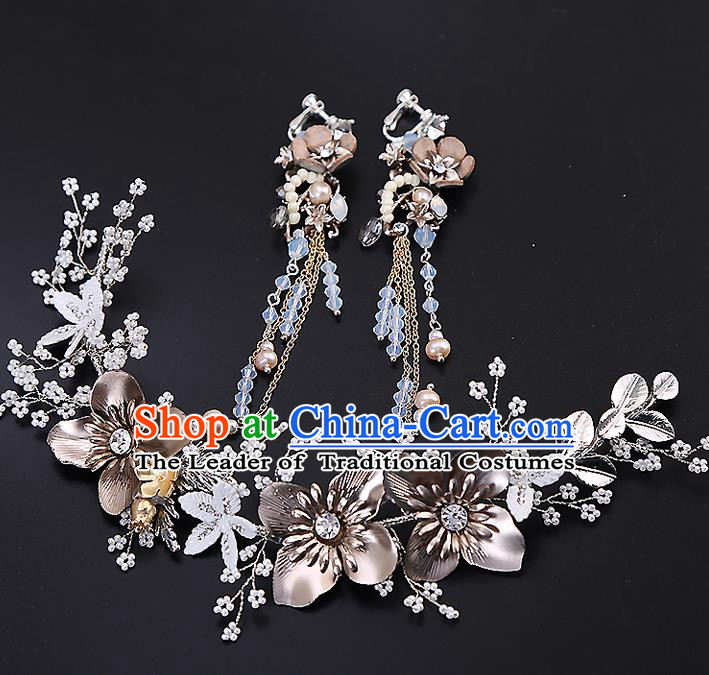Top Grade Handmade Wedding Dragonfly Hair Accessories Bride Crystal Hair Clasp and Tassel Earrings, Traditional Baroque Princess Hair Stick Headband Headdress for Women