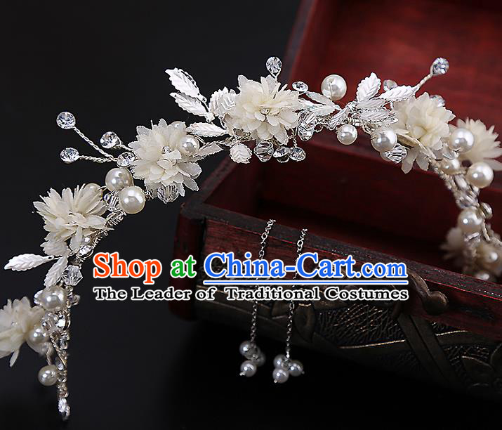 Top Grade Handmade Wedding Dragonfly Hair Accessories Bride Flowers Hair Clasp and Tassel Earrings, Traditional Baroque Princess Hair Stick Headband Headdress for Women