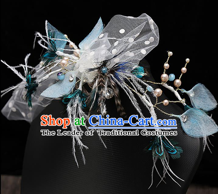 Top Grade Handmade Wedding Dragonfly Hair Accessories Bride Blue Hair Claw, Traditional Baroque Princess Hair Stick Headband Headdress for Women