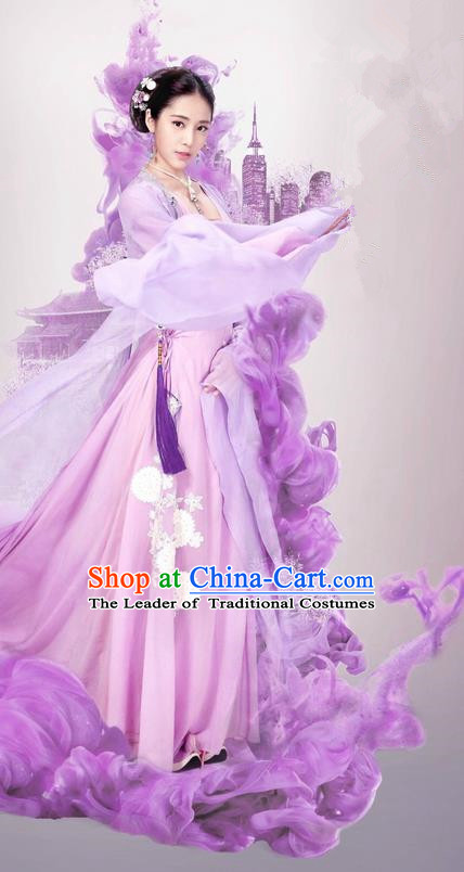 Traditional Ancient Chinese Noble Lady Costume and Headpiece Complete Set, Chinese Ming Dynasty Imperial Princess Embroidered Clothing for Women