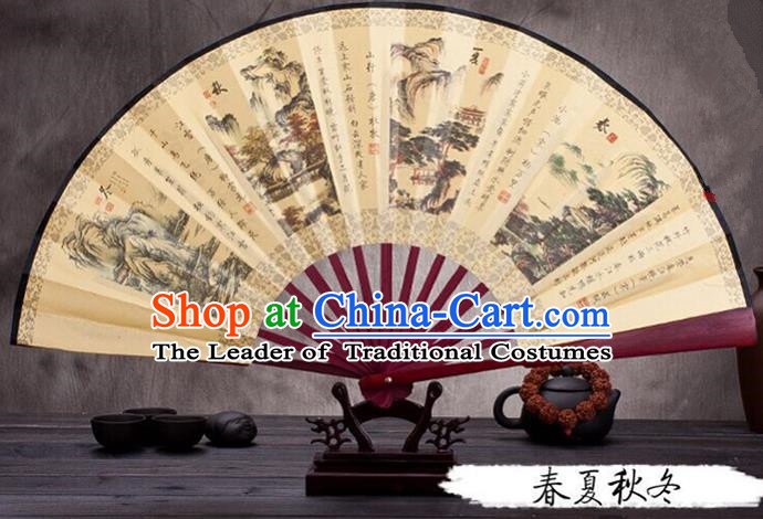 Traditional Chinese Ancient Peking Opera Accessories Scholar Ink Painting Four Seasons Fan, Traditional Chinese Beijing Opera Young Men Props Folding Fans
