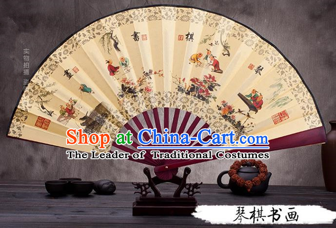 Traditional Chinese Ancient Peking Opera Accessories Scholar Ink Painting Four Arts Fan, Traditional Chinese Beijing Opera Young Men Props Folding Fans