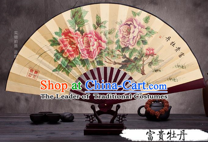 Traditional Chinese Ancient Peking Opera Accessories Scholar Ink Painting Peony Fan, Traditional Chinese Beijing Opera Young Men Props Folding Fans