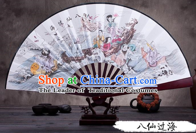 Traditional Chinese Ancient Peking Opera Accessories Scholar Ink Painting Eight Immortals Crossing the Sea Fan, Traditional Chinese Beijing Opera Young Men Props Folding Fans