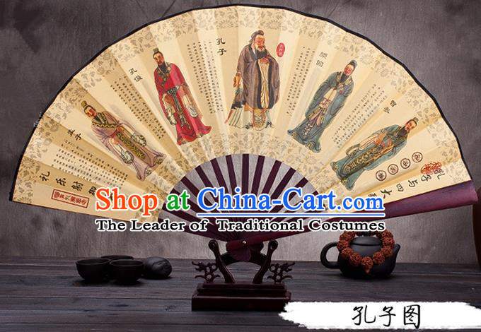 Traditional Chinese Ancient Peking Opera Accessories Scholar Ink Painting Confucius Fan, Traditional Chinese Beijing Opera Young Men Props Folding Fans