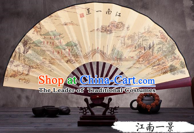 Traditional Chinese Ancient Peking Opera Accessories Scholar Ink Painting Jiangnan Scenery Fan, Traditional Chinese Beijing Opera Young Men Props Folding Fans
