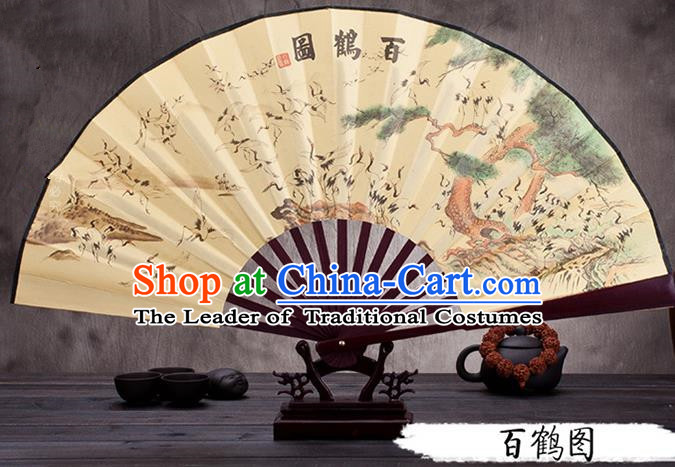 Traditional Chinese Ancient Peking Opera Accessories Scholar Ink Painting Cranes Fan, Traditional Chinese Beijing Opera Young Men Props Folding Fans