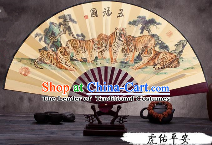 Traditional Chinese Ancient Peking Opera Accessories Scholar Ink Painting Tigers Fan, Traditional Chinese Beijing Opera Young Men Props Folding Fans