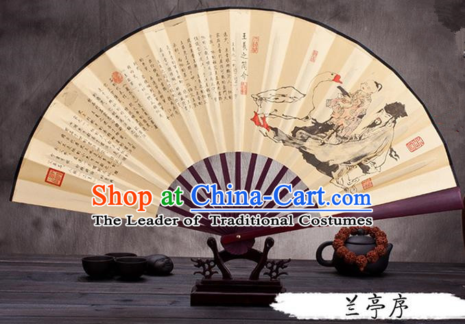 Traditional Chinese Ancient Peking Opera Accessories Scholar Ink Painting Orchid Pavilion Fan, Traditional Chinese Beijing Opera Young Men Props Folding Fans