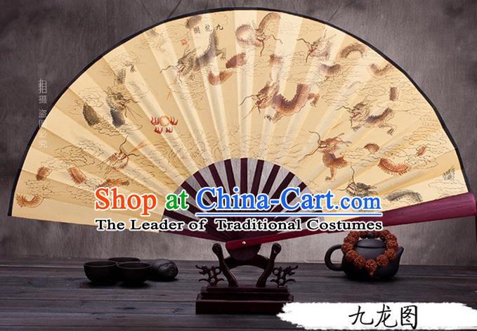 Traditional Chinese Ancient Peking Opera Accessories Scholar Ink Painting Nine Dragons Fan, Traditional Chinese Beijing Opera Young Men Props Folding Fans