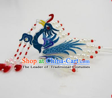 Chinese Ancient Peking Opera Head Accessories Diva Long Tassel Phoenix Hairpins, Traditional Chinese Beijing Opera Princess Hua Tan Hair Clasp Head-ornaments