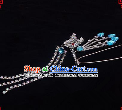 Chinese Ancient Peking Opera Head Accessories Diva Blue Crystal Hairpins Step Shake, Traditional Chinese Beijing Opera Princess Hua Tan Hair Clasp Head-ornaments