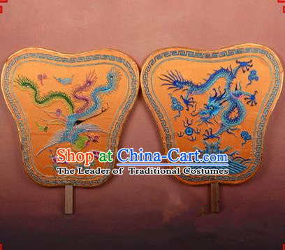 Traditional Chinese Ancient Peking Opera Accessories Dragon and Phoenix Fan, Traditional Chinese Beijing Opera Young Men Fans