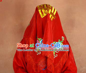Traditional Chinese Ancient Peking Opera Wedding Bride Endshield, Traditional Chinese Beijing Opera Embroidery Red Head Cover