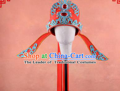 Traditional Chinese Ancient Peking Opera Accessories Lang Scholar Hat, Traditional Chinese Beijing Opera Young Men Bridegroom Emperor Son-in-law Headwear