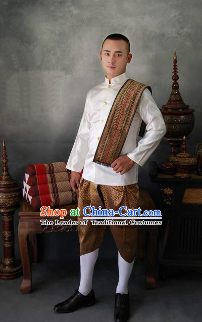 Traditional Traditional Thailand Male Clothing, Southeast Asia Thai Ancient Costumes Dai Nationality Shirt and Pants for Men