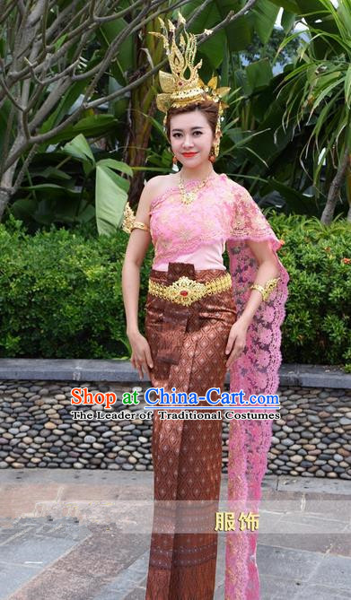 Traditional Traditional Thailand Female Clothing, Southeast Asia Thai Ancient Costume Dai Nationality Wedding Bride Pink Sari Dress for Women