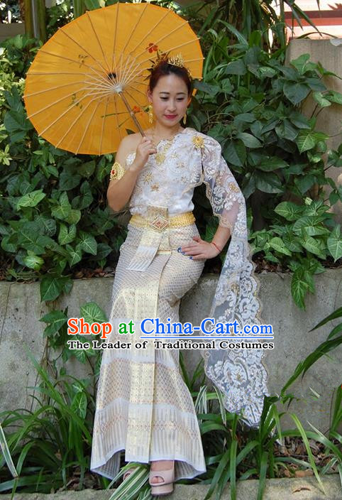 Traditional Traditional Thailand Female Clothing, Southeast Asia Thai Ancient Costumes Dai Nationality Wedding Bride White Sari Dress for Women