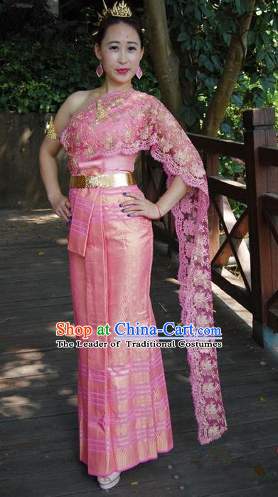 Traditional Traditional Thailand Female Bride Clothing, Southeast Asia Thai Ancient Costumes Dai Nationality Wedding Pink Sari Dress for Women