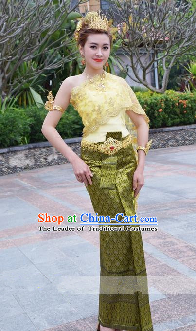 Traditional Traditional Thailand Female Clothing, Southeast Asia Thai Ancient Costumes Dai Nationality Green Sari Dress for Women