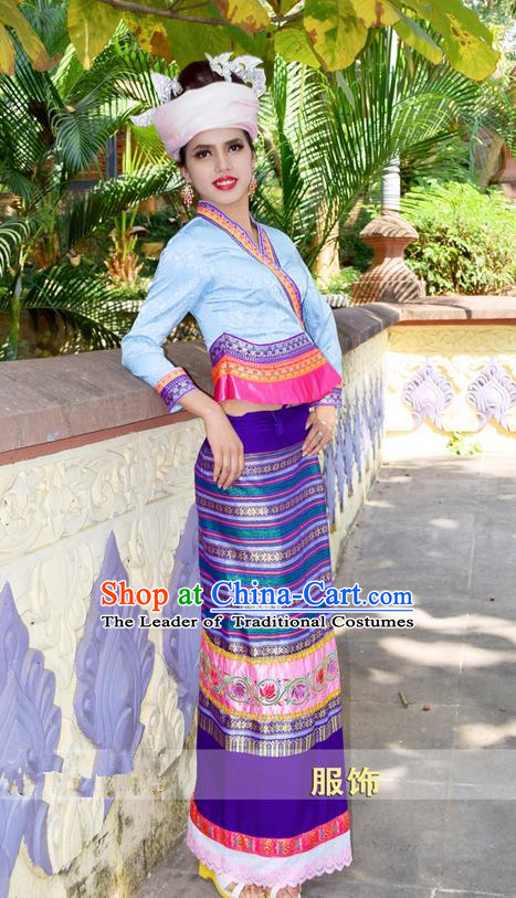 Traditional Traditional Thailand Female Clothing, Southeast Asia Thai Ancient Costumes Dai Nationality Water-Sprinkling Festival Sari Dress for Women