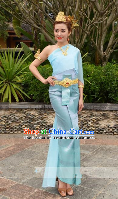 Traditional Traditional Thailand Female Clothing, Southeast Asia Thai Ancient Costumes Dai Nationality Water-Sprinkling Festival Blue Sari Dress for Women