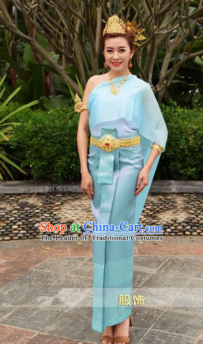 50b29ecf7 Traditional Traditional Thailand Female Clothing, Southeast Asia Thai  Ancient Costumes Dai Nationality Water-Sprinkling Festival Blue Sari Dress  for Women