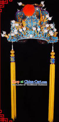 Traditional Chinese Ancient Peking Opera Accessories Emperor Hat, Traditional Chinese Beijing Opera Court King Headwear Nine Dragons Crown