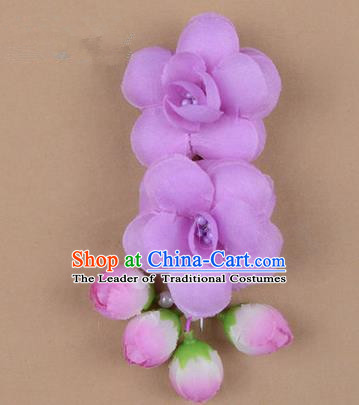 Chinese Ancient Peking Opera Hair Accessories Diva Temple Purple Flowers Hairpins, Traditional Chinese Beijing Opera Princess Hua Tan Hair Clasp Head-ornaments