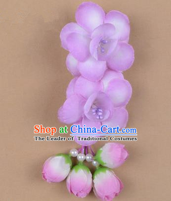 Chinese Ancient Peking Opera Hair Accessories Diva Temple Lilac Flowers Hairpins, Traditional Chinese Beijing Opera Princess Hua Tan Hair Clasp Head-ornaments