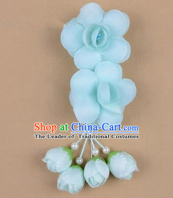 Chinese Ancient Peking Opera Hair Accessories Diva Temple Light Blue Flowers Hairpins, Traditional Chinese Beijing Opera Princess Hua Tan Hair Clasp Head-ornaments