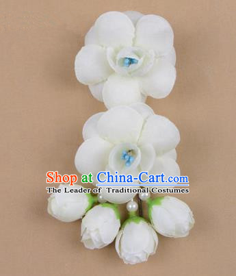Chinese Ancient Peking Opera Hair Accessories Diva Temple White Flowers Hairpins, Traditional Chinese Beijing Opera Princess Hua Tan Hair Clasp Head-ornaments
