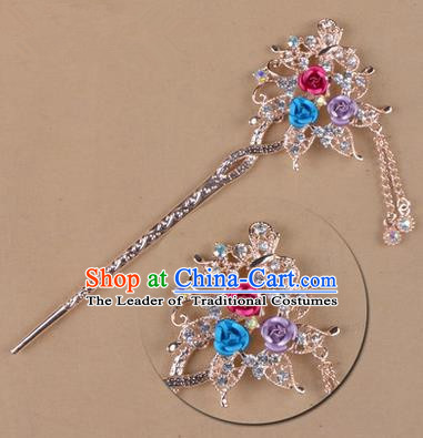 Top Grade Chinese Ancient Peking Opera Hair Accessories Diva Colours Crystal Flowers Hairpins Step Shake, Traditional Chinese Beijing Opera Hua Tan Hair Clasp Head-ornaments