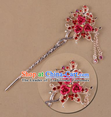 Top Grade Chinese Ancient Peking Opera Hair Accessories Diva Red Crystal Flowers Hairpins Step Shake, Traditional Chinese Beijing Opera Hua Tan Hair Clasp Head-ornaments