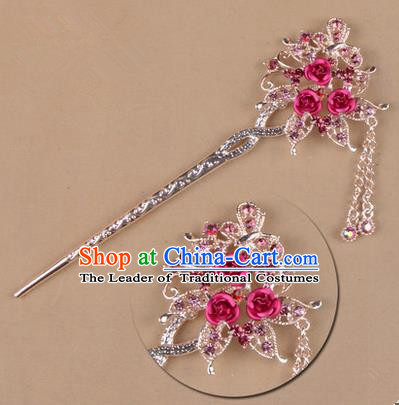 Top Grade Chinese Ancient Peking Opera Hair Accessories Diva Pink Crystal Flowers Hairpins Step Shake, Traditional Chinese Beijing Opera Hua Tan Hair Clasp Head-ornaments