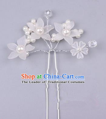 Top Grade Chinese Ancient Peking Opera Hair Accessories Diva White Flowers Hairpins Step Shake, Traditional Chinese Beijing Opera Hua Tan Hair Clasp Head-ornaments