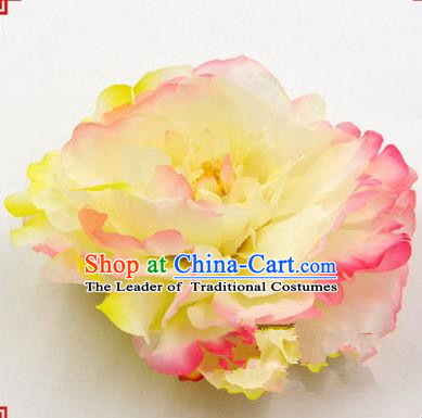 Top Grade Chinese Ancient Peking Opera Hair Accessories Diva Yellow Peony Hairpins, Traditional Chinese Beijing Opera Hua Tan Hair Clasp Head-ornaments