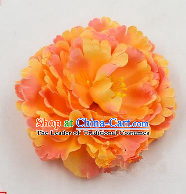 Top Grade Chinese Ancient Peking Opera Hair Accessories Diva Bright Yellow Peony Hairpins, Traditional Chinese Beijing Opera Hua Tan Hair Clasp Head-ornaments
