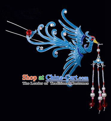Top Grade Chinese Ancient Peking Opera Hair Accessories Diva Hairpins Phoenix Tassel Step Shake, Traditional Chinese Beijing Opera Hua Tan Hair Clasp Head-ornaments