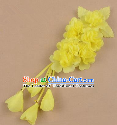 Top Grade Chinese Ancient Peking Opera Hair Accessories Diva Crystal Temple Yellow Jasmine Flowers Hairpins, Traditional Chinese Beijing Opera Hua Tan Hair Clasp Head-ornaments