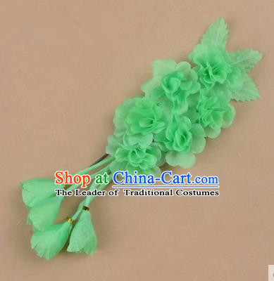 Top Grade Chinese Ancient Peking Opera Hair Accessories Diva Crystal Temple Green Jasmine Flowers Hairpins, Traditional Chinese Beijing Opera Hua Tan Hair Clasp Head-ornaments