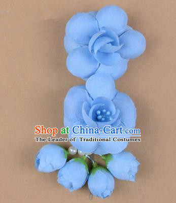 Chinese Ancient Peking Opera Hair Accessories Diva Temple Blue Flowers Hairpins, Traditional Chinese Beijing Opera Princess Hua Tan Hair Clasp Head-ornaments