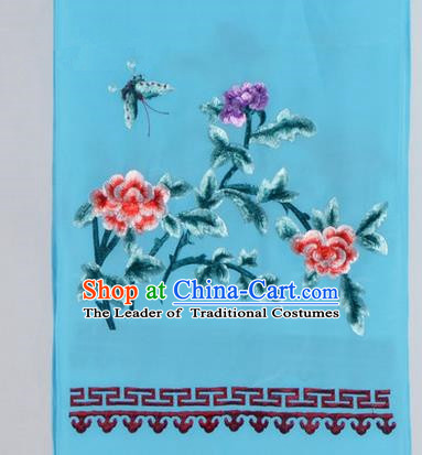 Top Grade Chinese Ancient Peking Opera Accessories Diva Embroidered Belts, Traditional Chinese Beijing Opera Hua Tan Light Blue Waist Towel