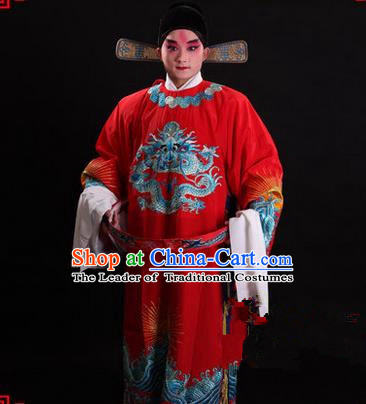 Traditional Chinese Beijing Opera Male Red Clothing and Shoes Complete Set, China Peking Opera Emperor Costume Embroidered Gwanbok Robe Opera Costumes