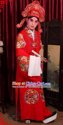 Traditional Chinese Beijing Opera Young Men Wedding Clothing, China Peking Opera Scholar Robe Opera Bridegroom Costumes