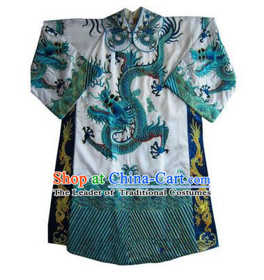 Traditional Chinese Beijing Opera Emperor Clothing, China Peking Opera King White Embroidered Dragon Robe Opera Costumes