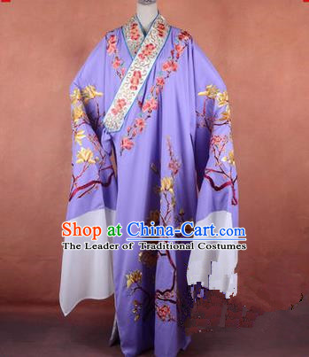 Traditional Chinese Beijing Opera Niche Purple Dress Clothing, China Peking Opera Gifted Youth Man Costume Embroidered Robe Opera Costumes