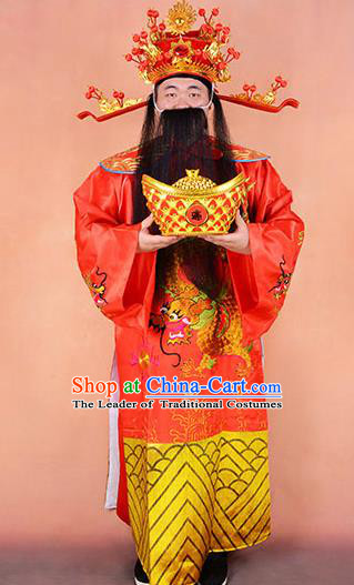 Traditional Chinese Beijing Opera Niche God of Wealth Clothing and Boots Complete Set, China Peking Opera Mammon Embroidered Robe Opera Costumes
