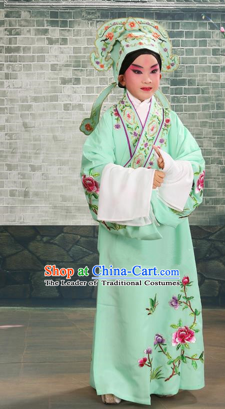 Traditional Chinese Beijing Opera Niche Green Children Clothing and Boots Complete Set, China Peking Opera Young Men Costume Embroidered Robe for Kids