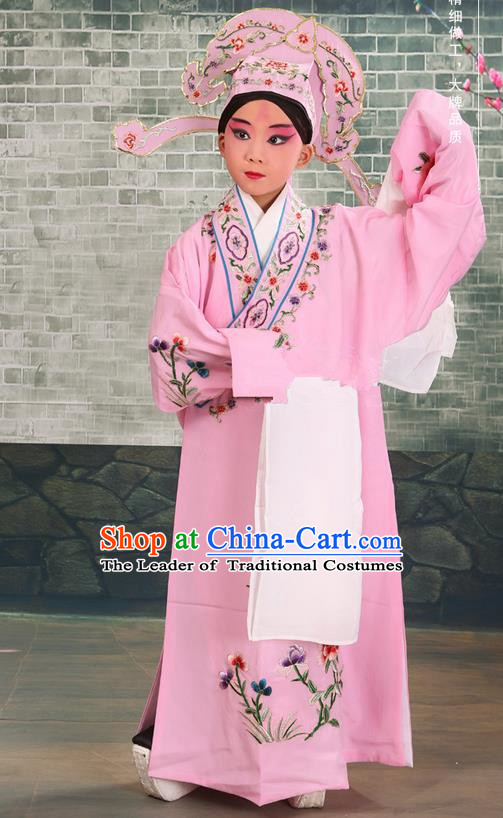 Traditional Chinese Beijing Opera Niche Pink Children Clothing and Boots Complete Set, China Peking Opera Young Men Costume Embroidered Robe for Kids